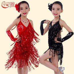 Latin Dance Performance Costumes Canada - Dancing Dress Children Latin Dance Dress for Kids Performance Wear Latin Sequin Tassel Fringed Dance Costume Girls Skirts with Flower
