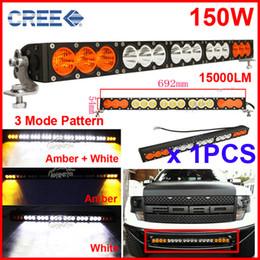 "amber flood lights 2019 - EMS 27.5"" 150W CREE LED Driving Work Light Bar Orange Amber +White Clear Lens Offroad SUV ATV 4WD 4x4 Spot   Flood"