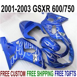 Kit Gsxr K1 NZ - Customize fairings set for SUZUKI GSXR600 GSXR750 2001-2003 K1 white flames blue high quality fairing kit GSXR 600 750 01 02 03 EF10