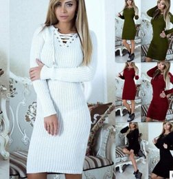 Barato Jumper De Vestido Feminino-2017 New Women Sweater Dresses Moda V-Neck bandagem Sweat de malha Jumper Dress Ladies Elegant Elastic Bodycon vestido