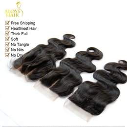 way lace closure brazilian NZ - Brazilian Hair Lace Closure 4x4 Size Brazilian Virgin Body Wave Human Hair Top Lace Closures Pieces Free Middle Three Way Part Free Shipping