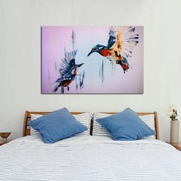 Best Canvas Wall Decor Canada - 100%Handpainted Oil Painting Cute Birds Paintings on Canvas Modern Abstract Home Decor Art Best Gift Wall Art Pictures