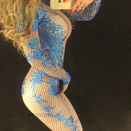 Barato Traje Azul Bodysuit-mais novo sexy azul Rhinestones jumpsuit Sparkly Diamonds leotard bodysuit elástico Cantor Bar Club DJ Pólo dance costume lead dancer stage show