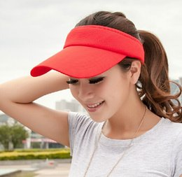 Wholesale-2015 Summer Sun Visors Topless UV Long Outdoor Long Brim Gorros de beisebol Chapéus (7 cores)