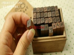 alphabet seal stamp Canada - Fedex DHL Free Shipping 28pcs set Wood Stamps AlPhabet letters seal uppercase lowercase wooden stamp,10sets lot