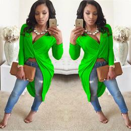 Army blouse online shopping - New Autumn Long Sleeve Front Knot Twist Drape Asymmetric Slit Split Maxi Top Blouse Colors for choices