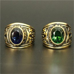 Cool Ring Designs Canada - 1pc Wholesale Green Blue Stone Golden Ring 316L Stainless Steel Cool Design Golden US Navy Ring