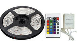 12v dc controller Australia - Outdoor Garden Waterproof IP65 LED Strip Light DC 12V 3528 SMD Multi Colors Changing Rope 300leds with IR Remote Controllers and 2A Adapter