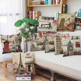 Coffee Housing Australia - 45cm Fanshion Cotton Linen Fabric Throw Pillowcase Vintage Person Flag Hot Sale 18 Inch New Home Coffee House Sofa Back Decor Cushion Cover