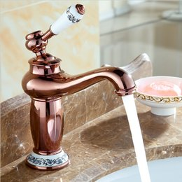 rose gold handles Canada - Contemporary Concise Bathroom Faucet Rose Gold Polished Brass Basin Sink Faucet Single Handle water taps A4126