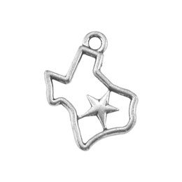 Chinese  30 pieces a lot zinc alloy Hollow Out TEXAS Map of Star Charms manufacturers
