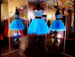 sweetheart above knee lace dress 2019 - 2019 Two Pieces Beaded Lace Tulle A-Line Short Blue Short Prom Dresses Sequined Above Knee Length vestidos de fiesta Par