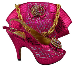 China Most popular bowtie and rhinestone african shoes match handbag set high heel ladies pumps with bag for party MM1003 fuchsia,heel 12.5CM supplier heels handbag suppliers