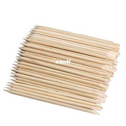 100pcs / pack Nail Art Оранжевый лес Stick Cuticle Pusher Remover для маникюра инструменты красоты подарки chirstmas Высокое качество