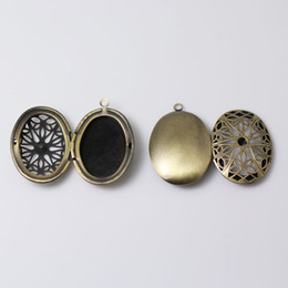 wholesale antique brass charms Australia - Beadsnice antique brass 2 photo oval locket pendant charm family filigree custom gift for her ID 7884