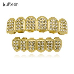 $enCountryForm.capitalKeyWord Canada - LuReen 18K Gold Plated Iced Out CZ Teeth Grillz Hip-Hop Bling Bling Dental Teeth Caps With Free Silicone Molds