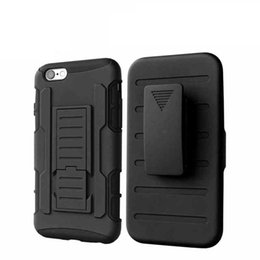 Iphone Silicone Button Canada - Armor Holster Case Waterproof Dirt-resistant Clip Cases Black Back Covers With Button Slots For iPhone 5 6 6Plus DHL Free SCA058