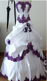 Barato Laço Casamento Vestidos Branco Roxo-New Design White and Purple Wedding Dresses 2016 Strapless Beadings Flower Lace Vestido de noiva de cetim Vestidos de noiva Lace up Back Custom Made W1038