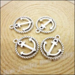 Coin Bracelet Jewelry Wholesale Canada - 75pcs Vintage Charms Anchors Pendant Antique silver Fit Bracelets Necklace DIY Metal Jewelry Making necklace forever