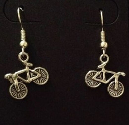 Bicycle Sales NZ - 20Pair Lot Zinc Alloy Antique Silver Bicycle Charm Vintage Dangle Earrings Hot Sale Fashion for Women Girls Jewelry Valentine's Day Present