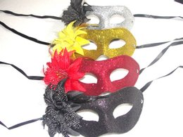 Silver Black Red Canada - Gold silver black red Mix color 19*8.5cm Sexy woman Electroplate Gold powder Feather big 14cm flower Flat head mask 100pcs lot