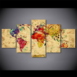 art canvas prints Australia - 5 Panel Framed HD Printed Vintage World Map Poster Canvas Oil Painting Wall Pictures For Living Room Arts