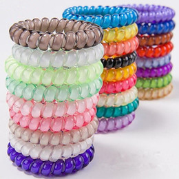 Wholesale 25pcs colors cm High Quality Telephone Wire Cord Gum Hair Tie Girls Elastic Hair Band Ring Rope Candy Color Bracelet Stretchy Scrunchy