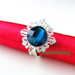 $enCountryForm.capitalKeyWord NZ - Lowest Price--100% High Quality 50pcs Teal Blue Vintage Style Napkin Rings Wedding Bridal Shower Napkin holder-- Free Shipping