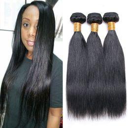 $enCountryForm.capitalKeyWord NZ - Brazilian Straight Virgin Hair 3 Bundles Lot Natural Black Cheap Hair Extensions 8-28 Inches Straight Human Hair For Wholesale