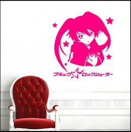 Wall Stickers Rock Canada - Decal Removable Home Decor Vinyl Decal Cartoon Black Rock Shooter Outline Sketch Baby Room Anime Sticker Wall Paper Wall Sticker