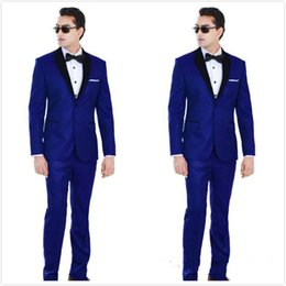$enCountryForm.capitalKeyWord Canada - Custom Made Traditional Royal Blue Wedding Tuxedos For Groom Black Shawl Lapel Prom Suits Two Buttons Mens Suits (Jacket+Pants)