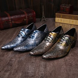 Shining Shoe Lace Canada - Luxury Brand Man Shoes Shine Snake Genuine Leather Bule Gold Fashion Oxfords Male Party Wedding Shoes Pointed Toe Lace-Up Male Shoes Casual
