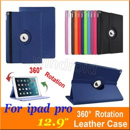 "Cheap Multi Cover Canada - Cheap Smart Rotating Case For iPad Pro 360 Degree Rotary Stand PU Leather Cover Cases For iPad Pro 12.9"" wake up sleep colorful Free DHL 50"