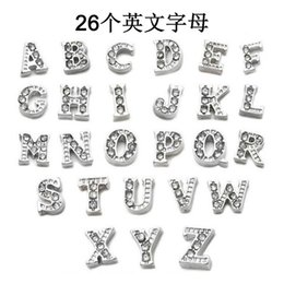 letter z lockets Canada - New fashion A-Z letters DIY necklace accessories Crystal alloy Letter Floating Charm for Glass Living Memory Locket