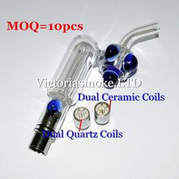 glass water pipe coils 2018 - MOQ=10pcs Glass Hookah atomizer Dry Herb Wax Vaporizer herbal dual quartz coil dual ceramic coils water filter pipe ecig