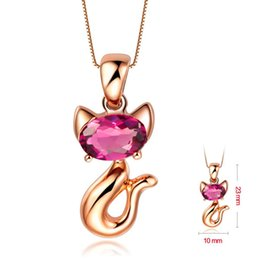 Vintage Cat Art Canada - Fashion 925 sterling sliver cat high quality Vintage Pendant Necklace Pendant Plated Art Chain Necklace jewelry Set With Zircon Gift