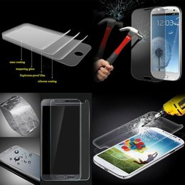 Para samsung galaxy s6 edge s4 s3 nota 4 s5 inquebrável limpar frente de vidro temperado para iphone6 iphone 6 plus 4 4S 5 5c 5S protetor de tela venda por atacado