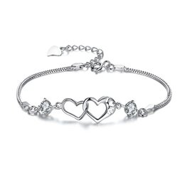 Track days online shopping - with tracking number Top Sale Silver Bracelet Double Heart crystal AAA CZ Bracelet Silver Jewelry