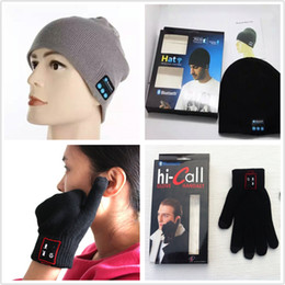 Christmas Stereos NZ - Christmas Gift Soft Warm Beanie Bluetooth Hat And Hi Call Smartphone Bluetooth Glove with Stereo Headset Speaker Wireless Mic Hands-free