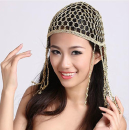 elastic skull cap Canada - Hand Hook Belly Dance Cap Woman Beaded Head Piece Elastic Belly Dance Skull Hat Cap Cleopatra Gold Silver Stage Hats Dance Hat