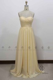 Vestidos De Dama De Honor Amarillos Simples Baratos-HarveyBridal Sweetheart Yellow Chiffon Dama de honor Vestidos Largas A-line Foto Real Simple Homecoming Prom Party Gowns Vestidos largos de baile
