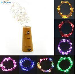 Hot 1M 10LED 2M 20LED Lámpara de corcho En forma de tapón de la botella Luz de cristal Vino LED Cable de cobre Luces de la secuencia para la fiesta de Navidad Boda en venta