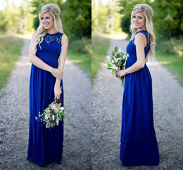 cheap bohemian prom dresses Canada - Designer Royal Blue Cheap Country Bridesmaid Dresses Sheer Neck Chiffon Junior Long Prom Dresses Summer Bohemian Modest Evening Gowns