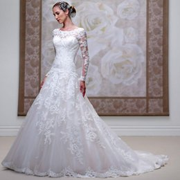 China Hot New Fashion Scoop Neckline Lace Applique With Beading A-Line Tulle Fabric Dropped Waist Wedding Dresses Court Train supplier long sleeves drop waist wedding dresses suppliers