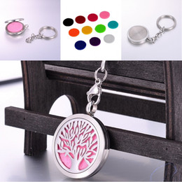 $enCountryForm.capitalKeyWord NZ - Fashion Unisex Silver Tree of Life Essential Oil Diffuser Aroma Key Ring Aromatherapy Perfume Accessories Christmas Gift D247S