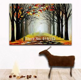 forest canvas print Canada - Palette Knife Painting Autumn Forest Landscape Foggy Path Picture Printed on Canvas for Home Office Hotel Wall Art Decor