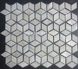kitchen wall backsplash NZ - FREE SHIPPING Rhombus Shell Mosaic Tiles,42*24;Naural pure white Mother of Pearl Tiles, kitchen backsplash, bathroom wall flooring tiles