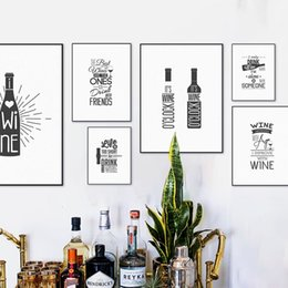 bar paintings Australia - Black White Wine Beer Bottle Typography Hippie Quotes Posters Nordic Kitchen Wall Art Picture Bar Decor Canvas Painting No Frame