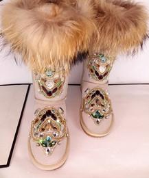 $enCountryForm.capitalKeyWord Canada - Vintage Rhinestone Fox Fur Bridal Shoes Chains Women Wedding Shoe High Quality Ankle Length Boots Winter Warm Wear