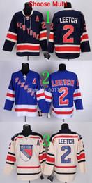 Cream York NZ - 30 Teams-Wholesale Free Shipping New York Rangers Jerseys #2 Brian Leetch Home Third Blue Beige Cream Stitched Sportswear Hockey Jersey